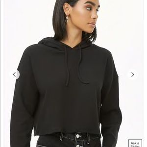 Forever 21 Black Ribbed Hooded Crop Top size large